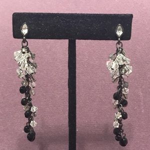 Long black and clear crystal earrings. 2/$10 Sale